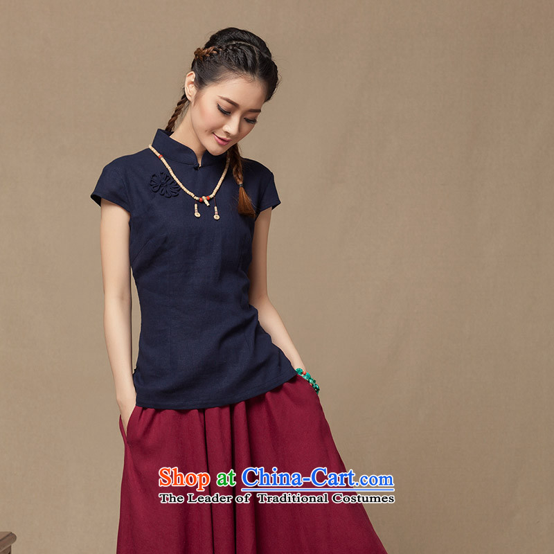 2014 new summer for women cotton linen dresses shirt Chinese Han-tang T-shirts and flax ethnic Tibetan Blue?M