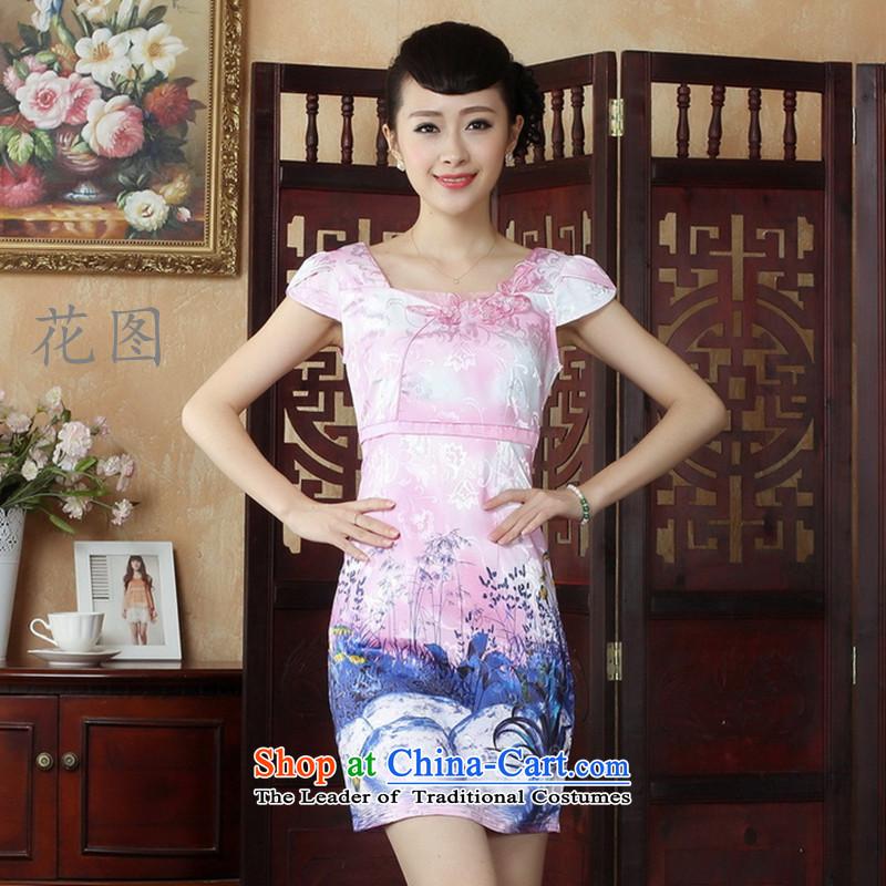 It New Lady Jane Nga embroidery cheongsam dress summer improved qipao stylish Sau San dressesD0237 pinkL