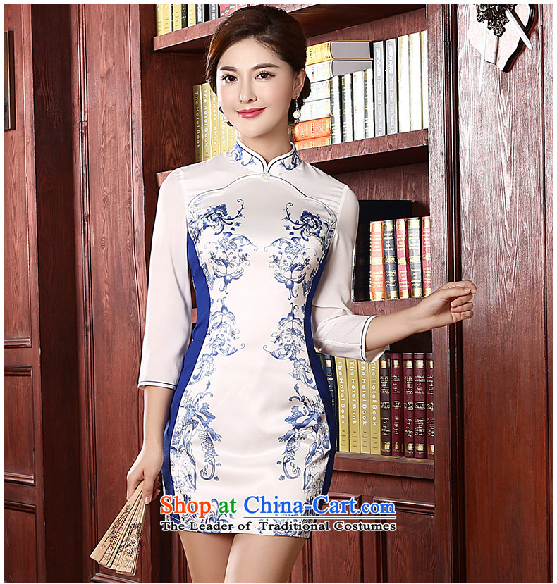 [Sau Kwun Tong] Cheong Wa shadow spring 2015 new retro in style qipao and long-sleeved stylish porcelain QC4713 White XL Photo cheongsam, prices, brand platters! The elections are supplied in the national character of distribution, so action, buy now enjoy more preferential! As soon as possible.