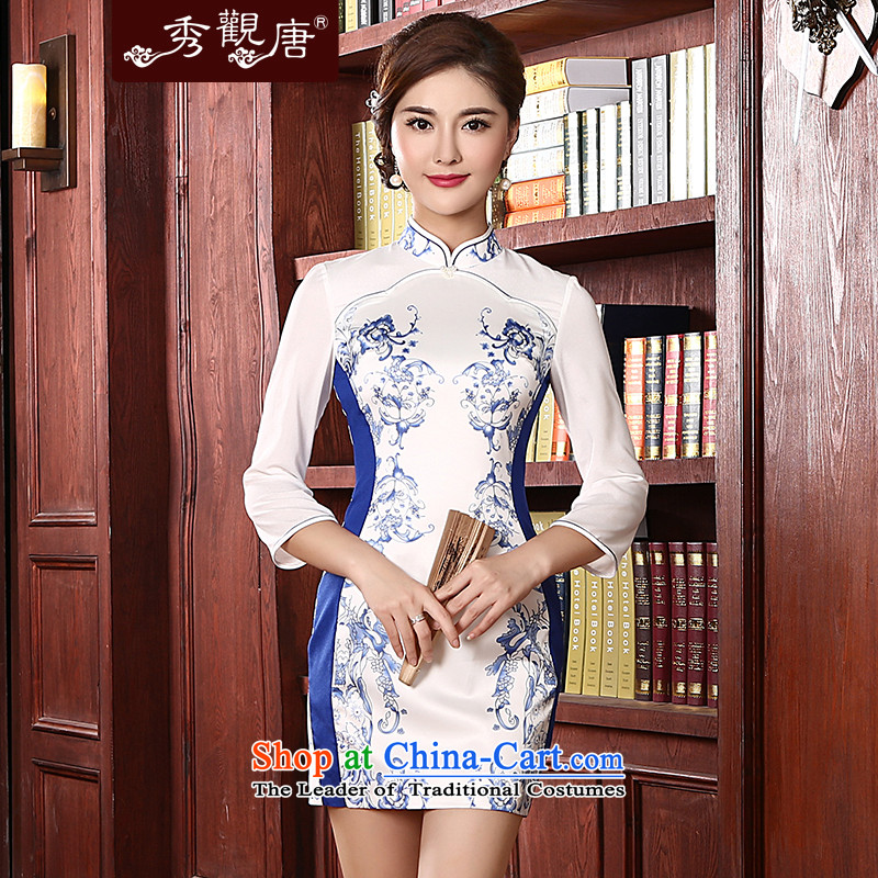 [Sau Kwun Tong] Cheong Wa shadow spring 2015 new retro in style qipao and long-sleeved stylish porcelain QC4713 qipao White�XL