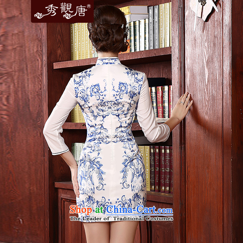 [Sau Kwun Tong] Cheong Wa shadow spring 2015 new retro in style qipao and long-sleeved stylish porcelain QC4713 White XL, Soo qipao Kwun Tong shopping on the Internet has been pressed.