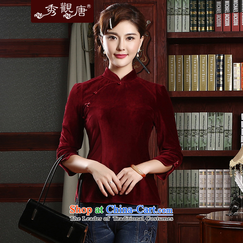 [Sau Kwun Tong] incense arts 2015 Spring temperament, Tang Dynasty Chinese long-sleeved T-shirt TC4712 improved qipao wine red�M