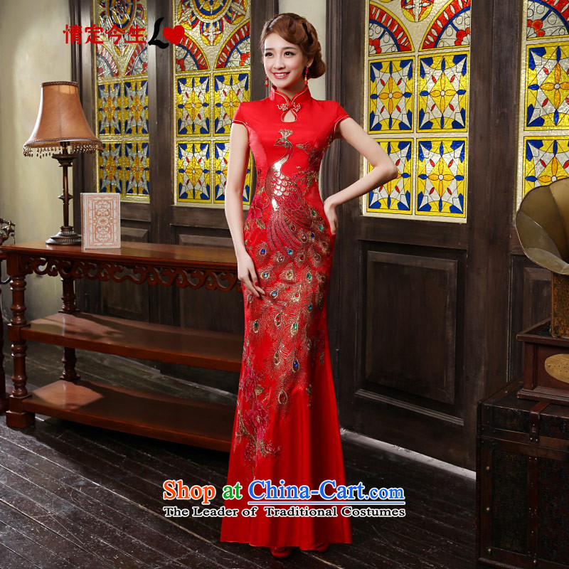 Love of the life of the new 2015 cheongsam dress improved red Chinese Antique crowsfoot wedding dress long bride bows services RED燤
