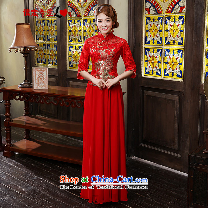 Love of the overcharged by 2015 new cheongsam dress improved red Chinese Antique Korean cheongsam wedding dress long bride services female red bows燣