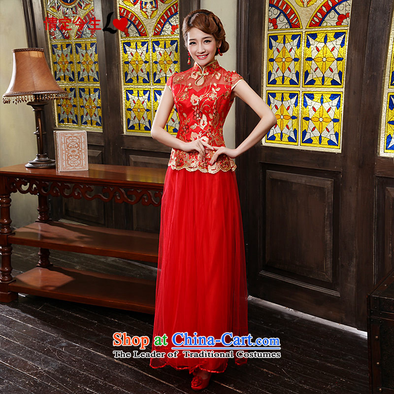 Love of the overcharged by 2015 new cheongsam dress improved red CHINESE CHEONGSAM retro wedding dress long red燲XL toasting champagne bride services