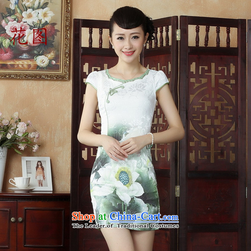 It new cheongsam Tang dynasty China wind stylish improved cheongsam dress short of qipao stylish everyday dress suit?D0238 White?2XL