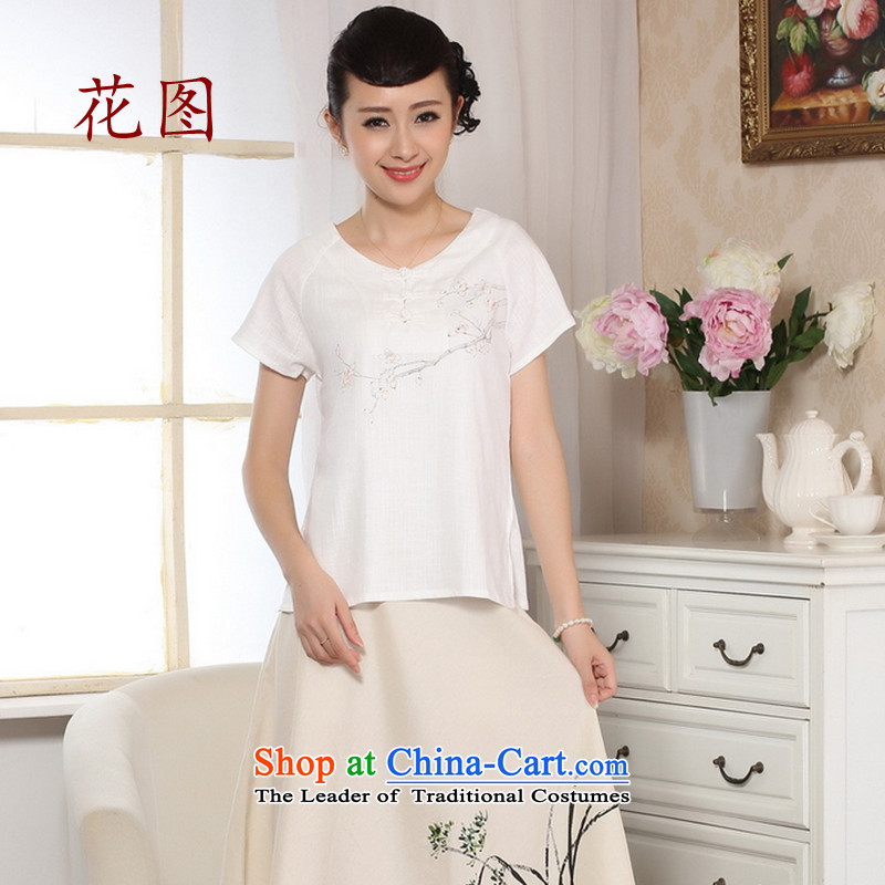 Take the new summer figure of nostalgia for the hand-painted short-sleeved T-shirt qipao cotton linen hand-painted shirt of ethnic women 0072 White L
