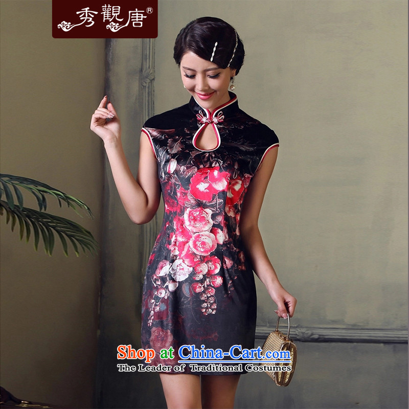 -Sau Kwun Tong- 2015 Summer Night of sexy retro qipao short_ back collar digital printing cheongsam dress G93115 SUIT燲XL
