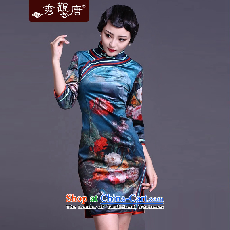-Sau Kwun Tong- blue-Ping Xiang spring 2015 in the Retro classic digital printing cuff cheongsam dress cheongsam dress G91138 SUIT聽L