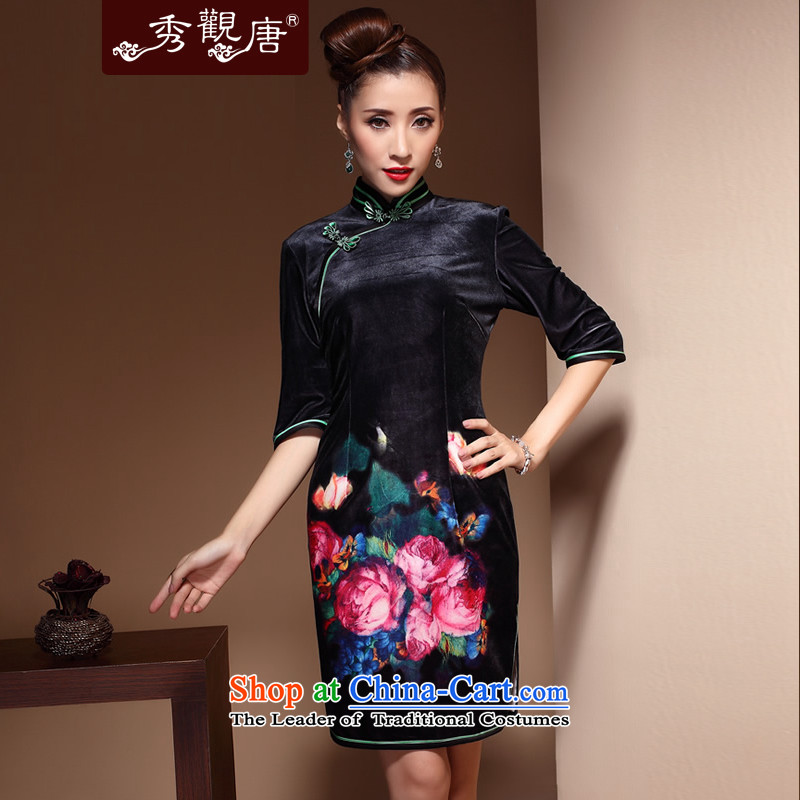 -Sau Kwun Tong- 2014 Autumn Load MR NGAN Heung-mother scouring pads qipao retro collar upscale velvet gown skirt QZ3861 black燣