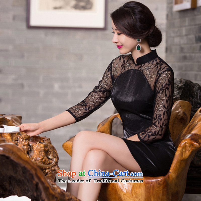 Take the new figure female Tang dynasty qipao improved collar lace stitching everyday. cuffs banquet cheongsam dress black M