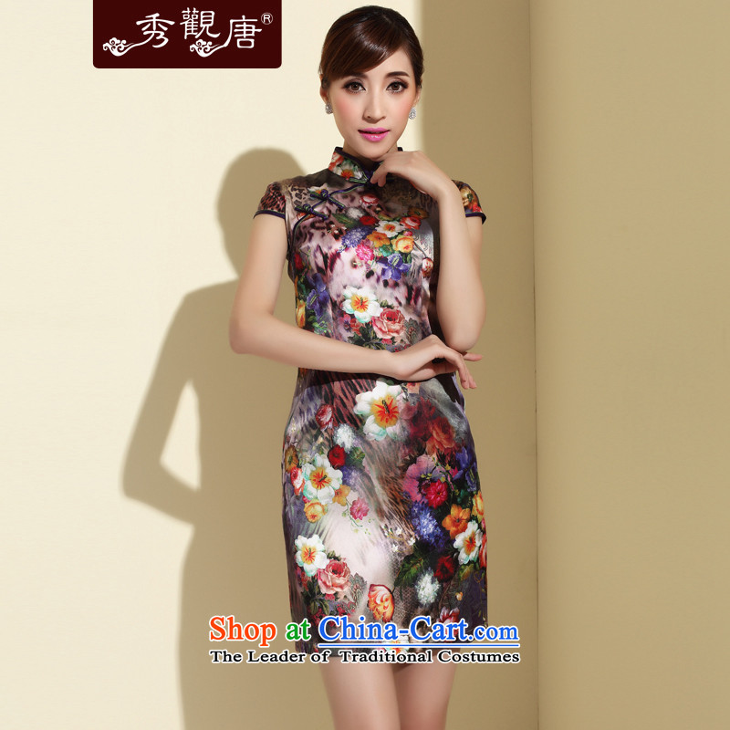 -Sau Kwun Tong- 2015 Summer summer form new Silk Cheongsam daily Sau San upscale silk cheongsam dress stamp QD4140 SUIT聽XL