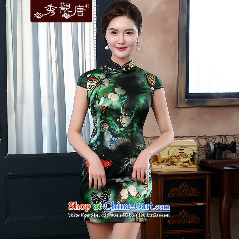 [Sau Kwun Tong] Swallowtail Butterfly 2014 Summer upscale Silk Cheongsam new retro elegant women QD4119 dark green?S