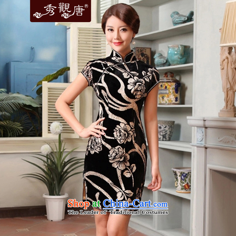 [Sau Kwun Tong] Blue 2015 Summer Dream Bridge Classic Videos Silk Cheongsam sauna Silk flocking mother qipao skirt G13599 SUIT�XL