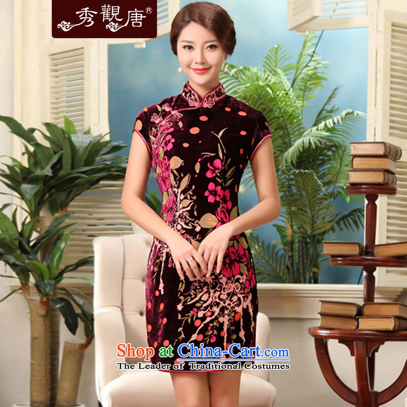 [Sau Kwun Tong] of the 2014 Summer Chan classical videos Silk Cheongsam Short-Sleeve Mock-Neck flocking silk cheongsam dress G13566 SUIT?L