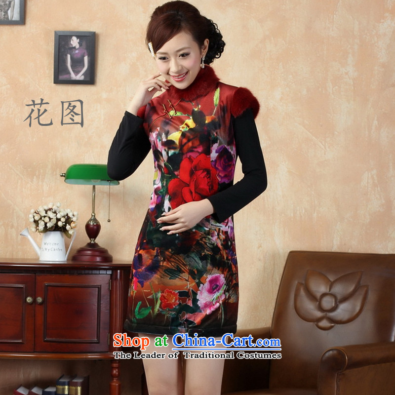 Take the new figure for winter Tang dynasty Classic tray snap qipao velvet collar cheongsam dress photo color燲L