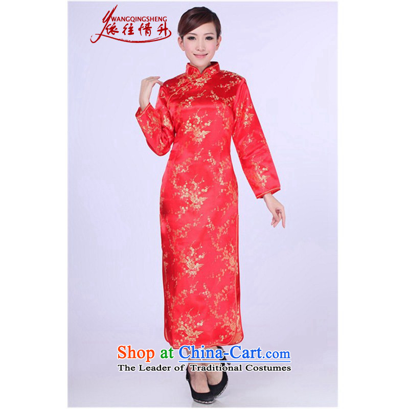 In accordance with the love spring trendy new products in women's dresses collar long-sleeved etiquette qipao?Lgd/e0013# Sau San?Red?L