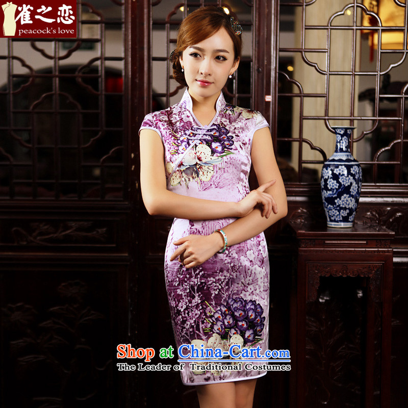 Love of birds bustling blooming?spring 2015 new stylish short of Qipao improved daily Silk Cheongsam suit?XXL
