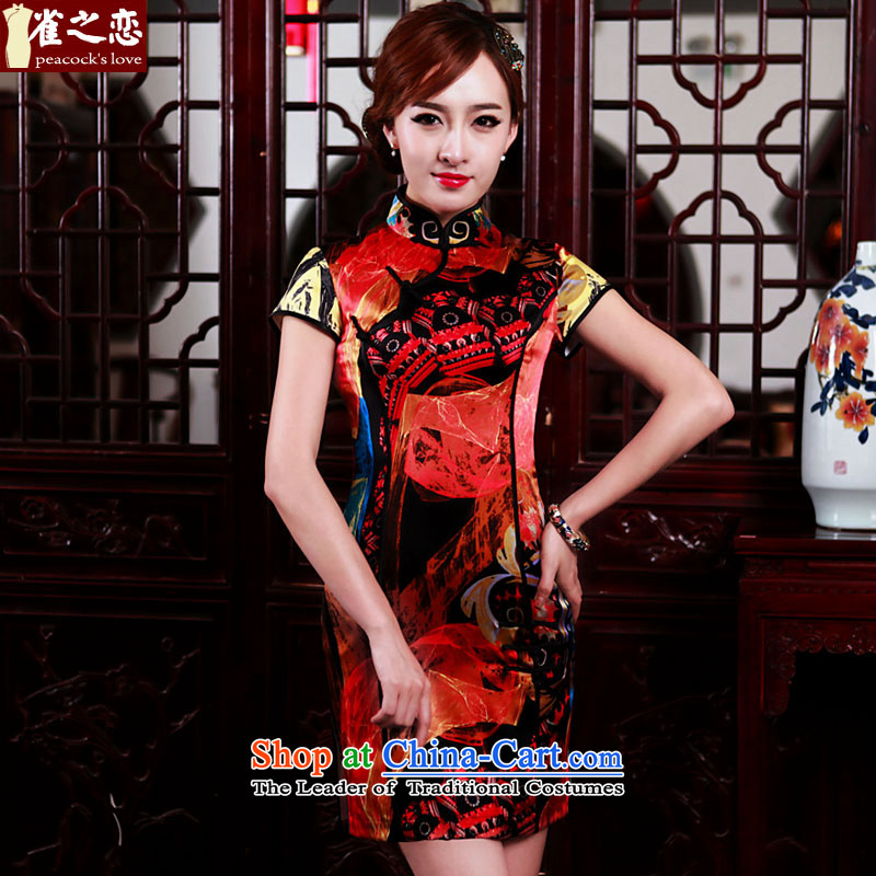 The scent of ink love birds tranquil?spring 2015 new daily video thin Silk Cheongsam figure?S