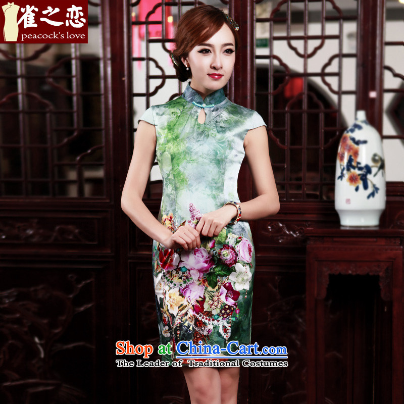 Love Birds of�spring 2015 color new stylish improved short of Silk flower short-sleeved qipao positioning QD527�XXXL Figure