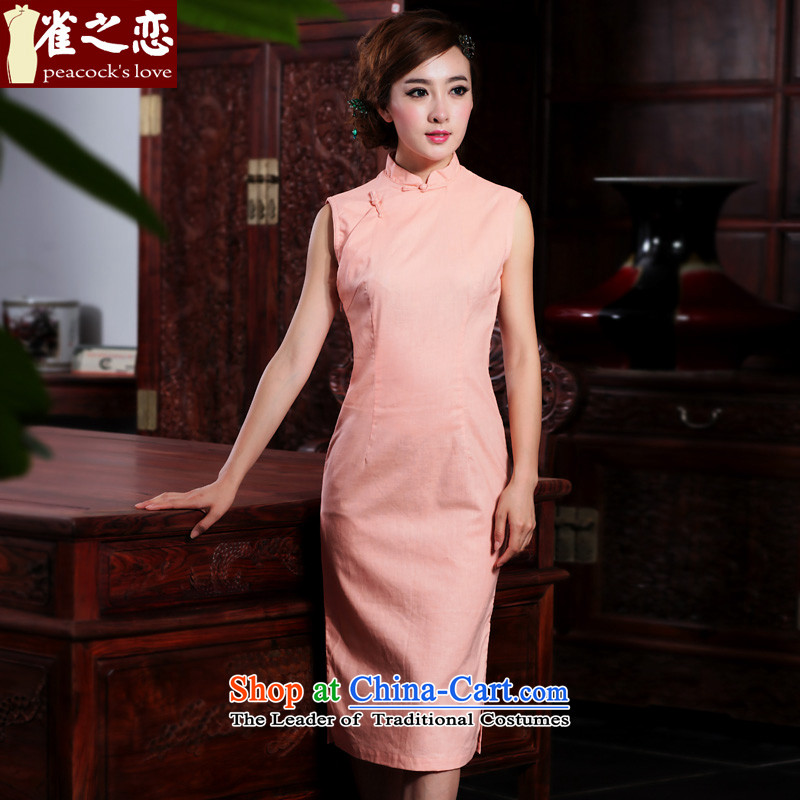 Love of birds dumping?spring 2015 Nga new retro arts cotton linen dresses long cotton linen cheongsam dress orange toner?L