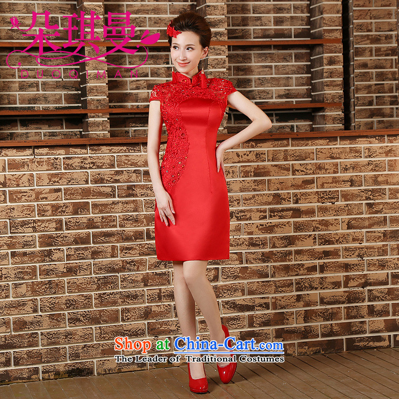 Flower Angel Cayman 2014 new red qipao gown bride short marriage QIPAO) bows to show dress cheongsam red S