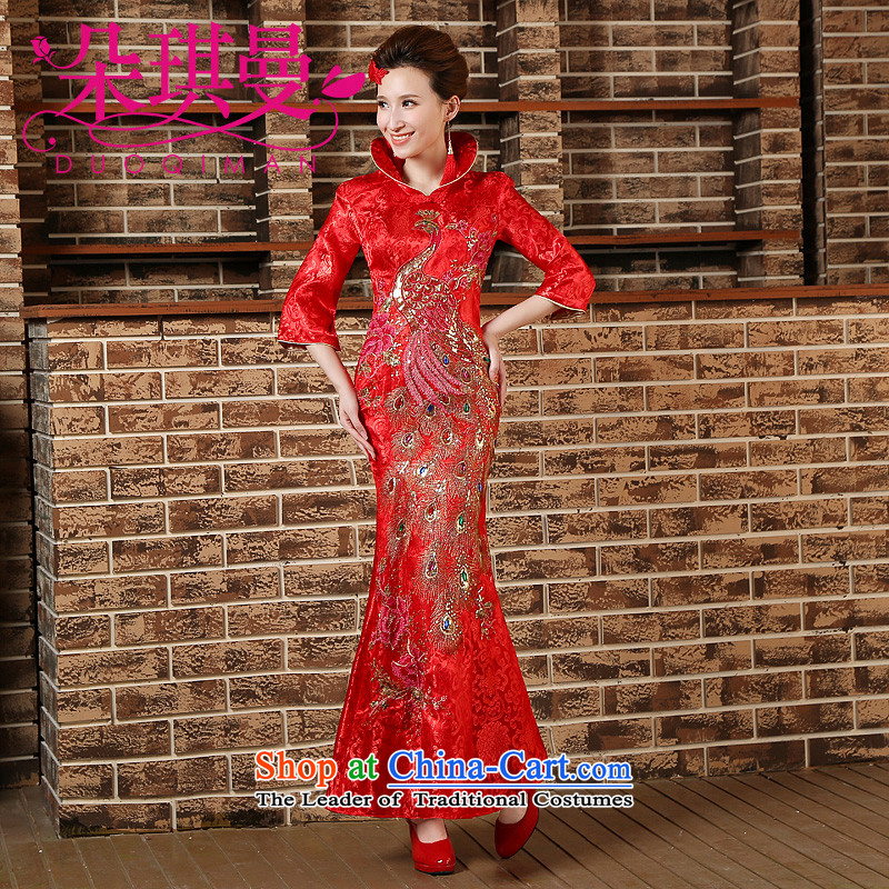 Flower Angel Cayman 2014 new re-door onto a mock-neck design of the ceremonial dress red bows with red qipao gown�XL