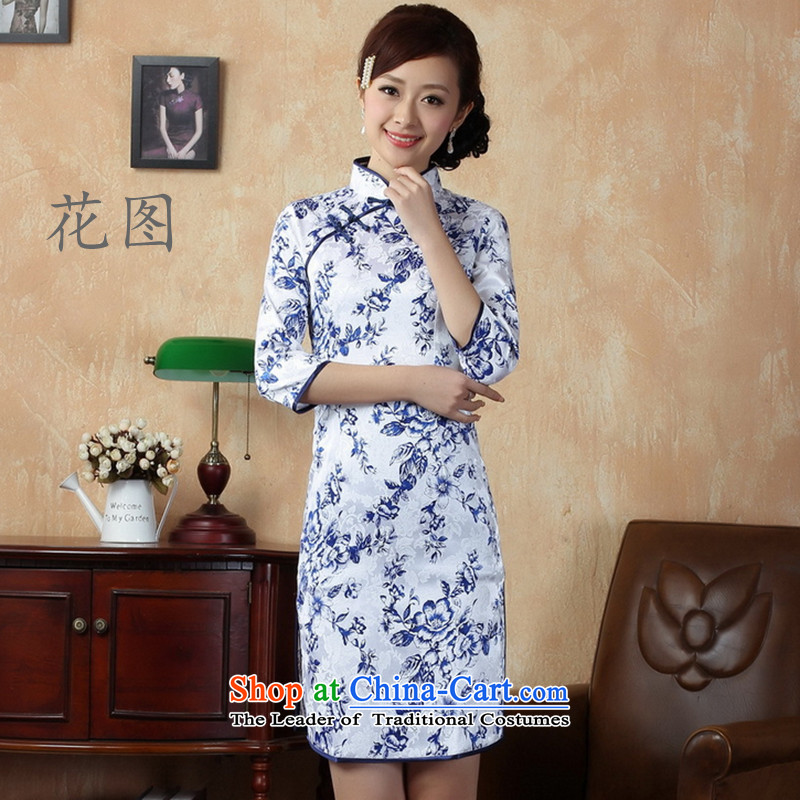 C.o.d. women spend figure Tang dynasty qipao gown ramp collar cotton porcelain, cuff qipao ethnic white?S