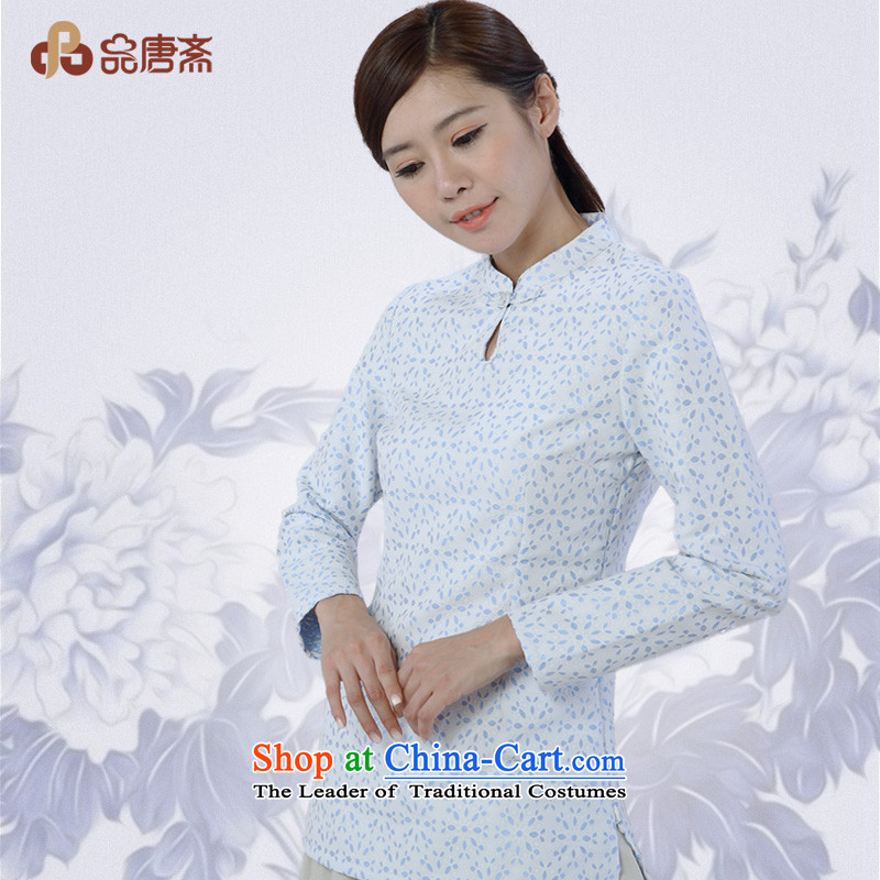 No. of Ramadan 2014 Autumn Load Tang new cotton linen collar tray clip saika long-sleeved improved Han-Tang Dynasty White燲L