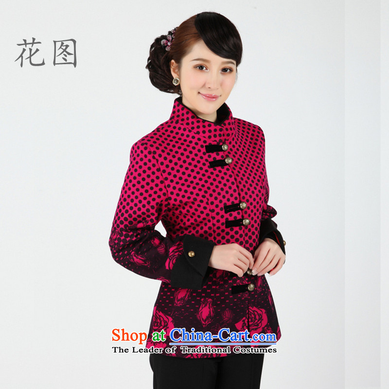 C.o.d. floral new autumn and winter female in Tang Dynasty older blouses long-sleeved clothing collar ethnic Video?- 2 of Sau San THIN RED?XL