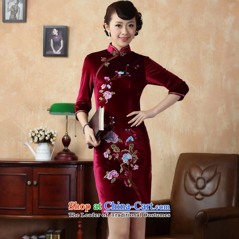 It fall inside the new cheongsam Tang dynasty women's Mock-neck Stretch Wool embroidery in Kim short-sleeved qipao picture color聽XL