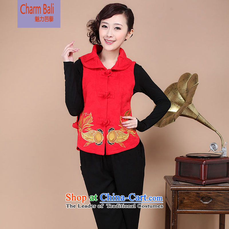 Load the autumn 2015 Tang blouses Chinese Folk Wind Jacket, a women's two kits available pants and sell FG17 red T-shirt�XXL