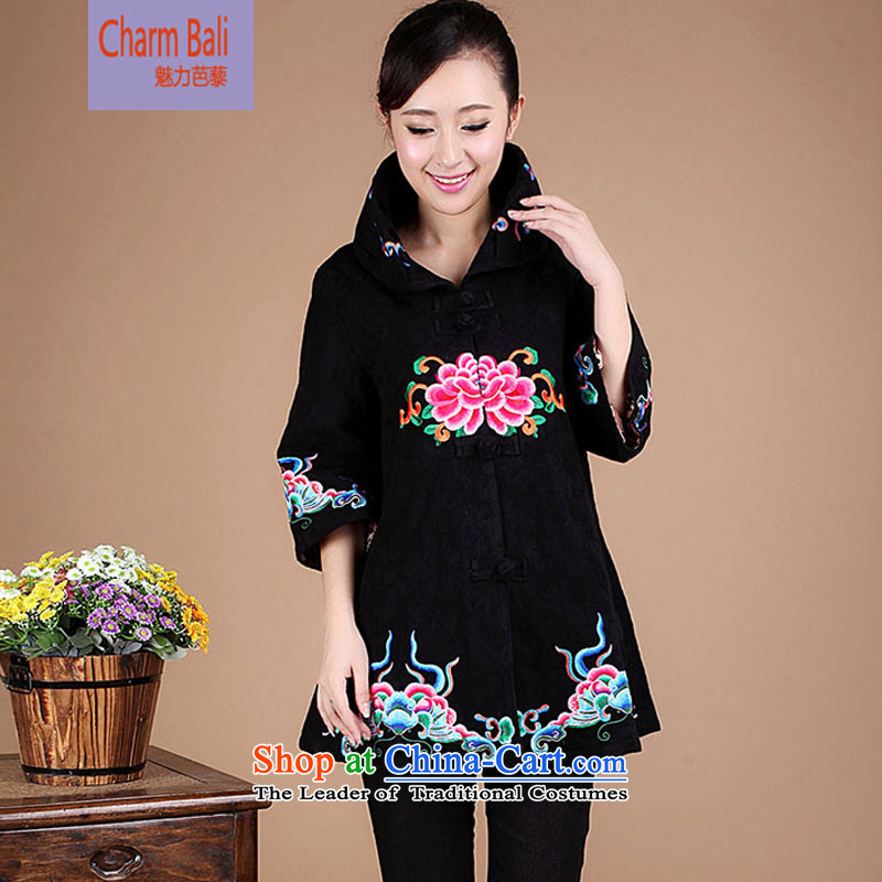 Replace the spring and autumn 2015 in Tang Long cotton shirt China Ethnic Women FG65 black?XXL