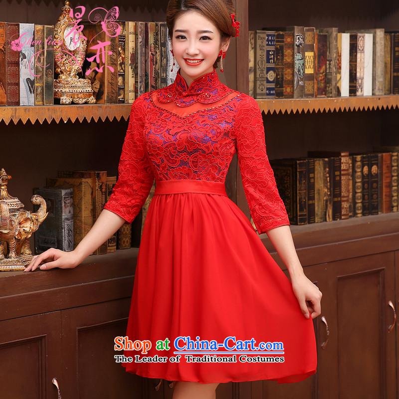 Land improvement qipao marriage morning red bows services bridal dresses and stylish short-sleeved) lace 2014 New Red�155/S