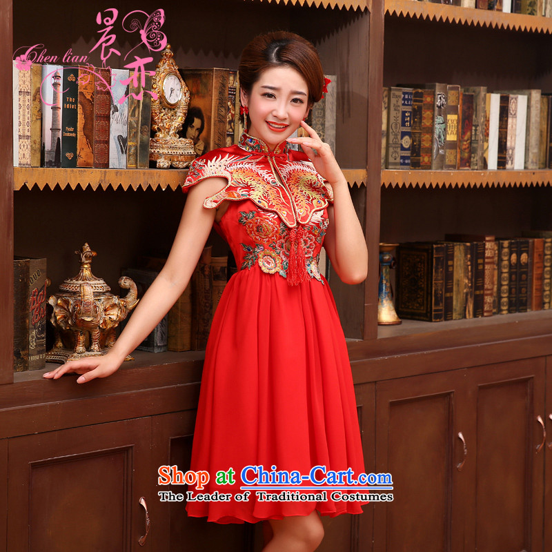 Land 2014 New Morning cheongsam dress short of marriage dress red lace retro wedding services improved bride bows red燲L