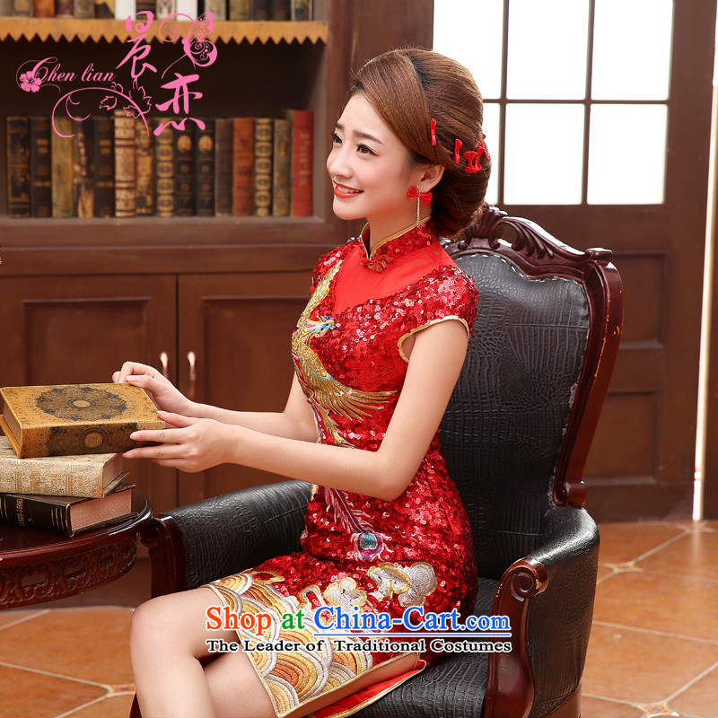 Morning land cheongsam luxury Heavy Industry�14爊ew qipao embroidery bows Service Bridal wedding dresses Fung to red long燲XL