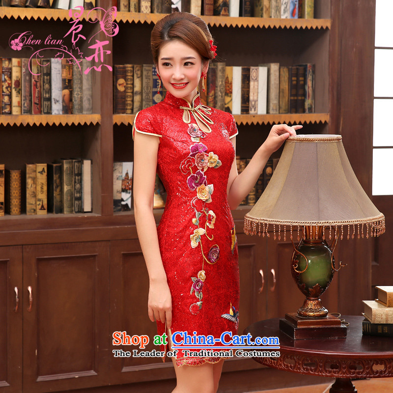 The land of the 2014 spring_summer morning drink service bridal wedding dress improved retro embroidery flower short of Qipao Red Red�5_S