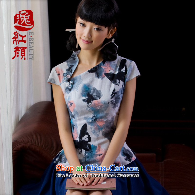A Pinwheel Without Wind- summer escape _energy improvement qipao shirt Linen Dress Ms. Tang dynasty China wind summer WJ026D ink butterfly L