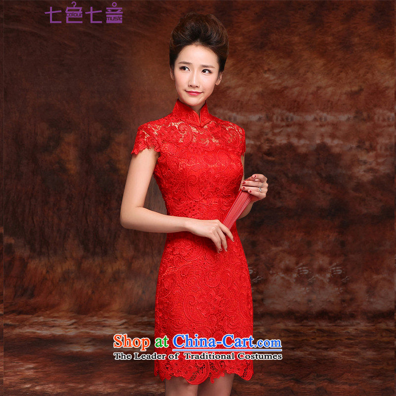 7 7 color tone?2015 new marriage short of dress red lace retro wedding services improved cheongsam dress bride bows?Q002?red short of?2 feet 1 M waist