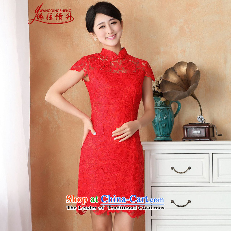 In accordance with the Love l summer trendy new products is pressed to collar Sau San lace cheongsam dress?WNS/2365#?RED?S