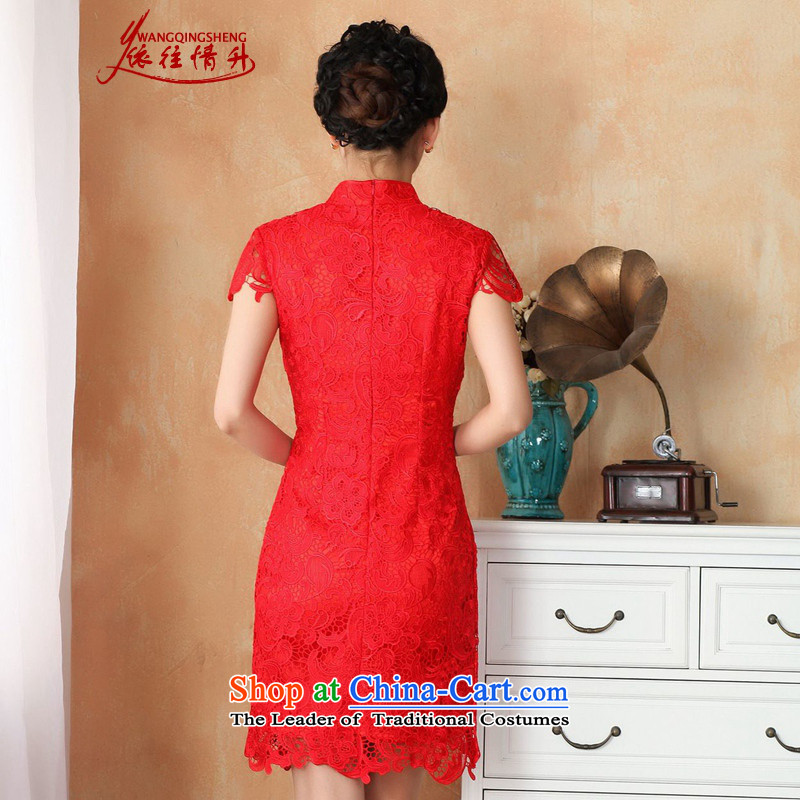 In accordance with the Love l summer trendy new products is pressed to collar Sau San lace cheongsam dressaccording to S, Red WNS/2365# love l , , , shopping on the Internet