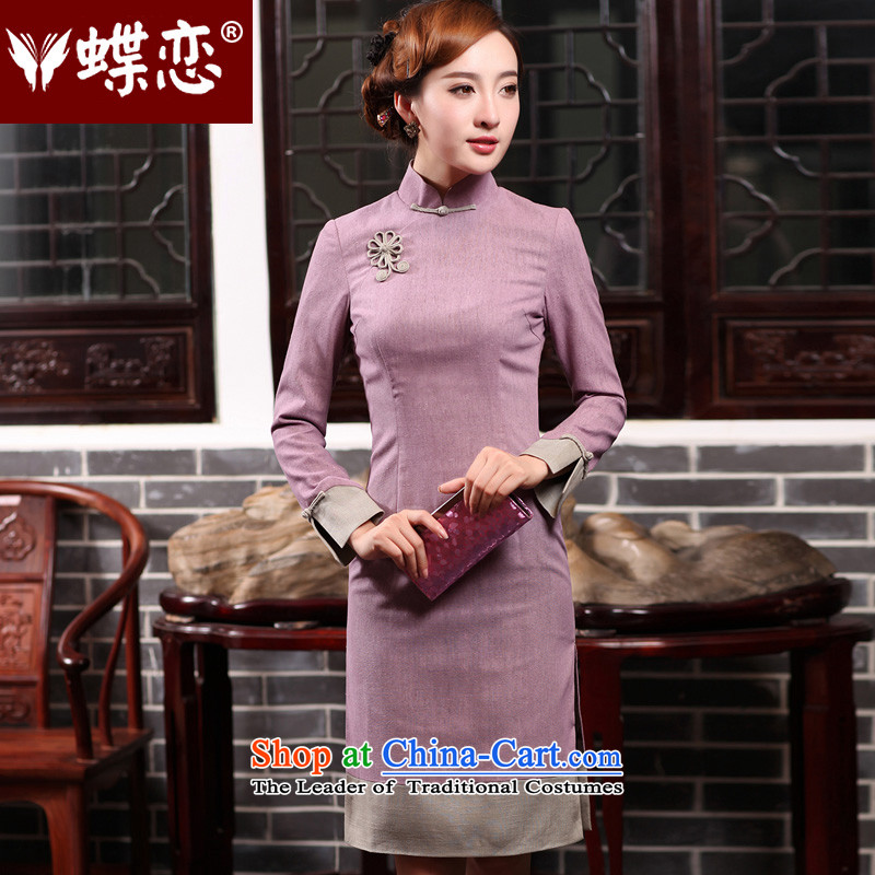 Butterfly Lovers 2015 Autumn New) long stylish improvements retro temperament cheongsam dress daily Sau San cotton linen dresses 47015 elegant purple� L