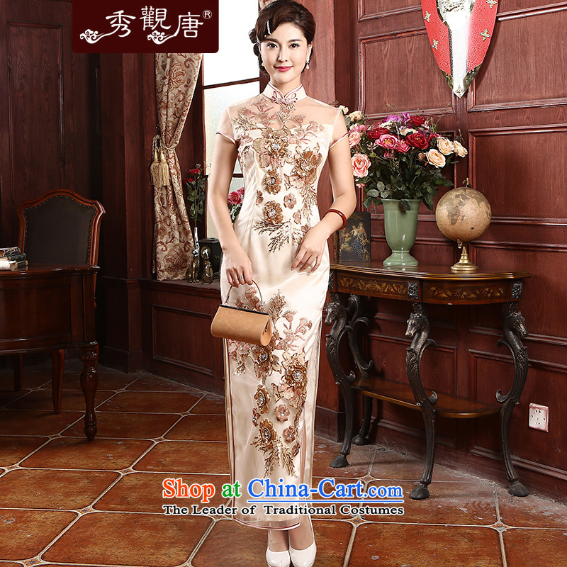 -Sau Kwun Tong Xiang Yun- gauze embroidery cheongsam 2015 Summer banquet long high retro cheongsam dress apricot?M