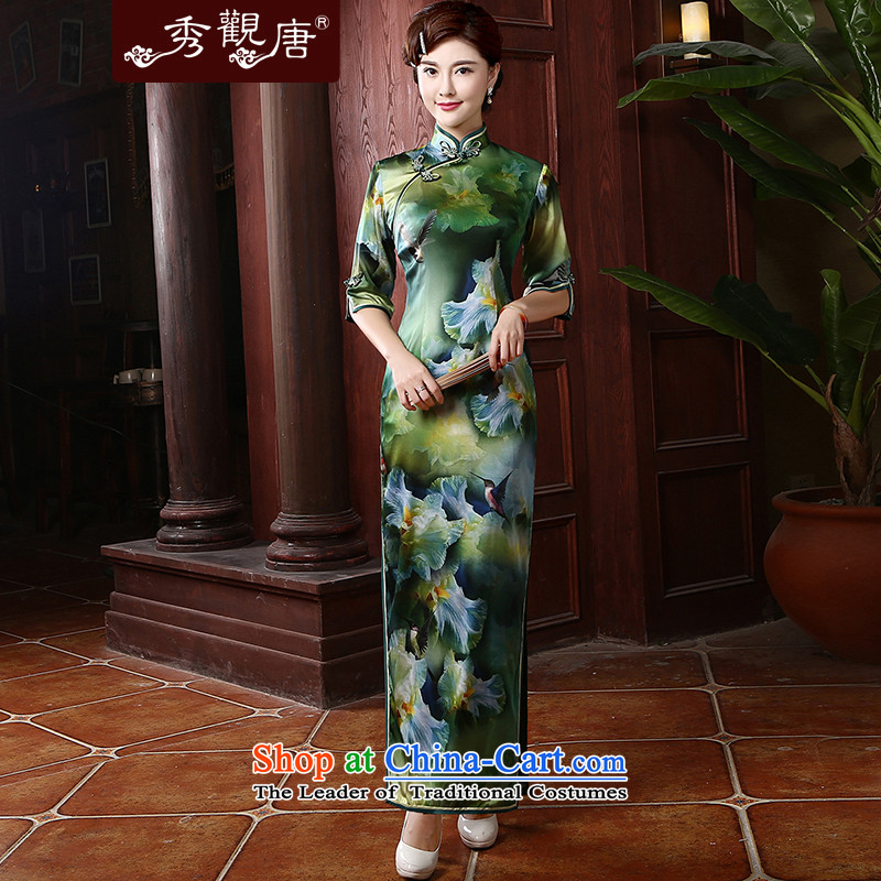 -Sau Kwun Tong- Bauhinia retro long Silk Cheongsam in the autumn of 2015, the cuff herbs extract qipao upscale mother replacing QZ4707聽XXXL Suit