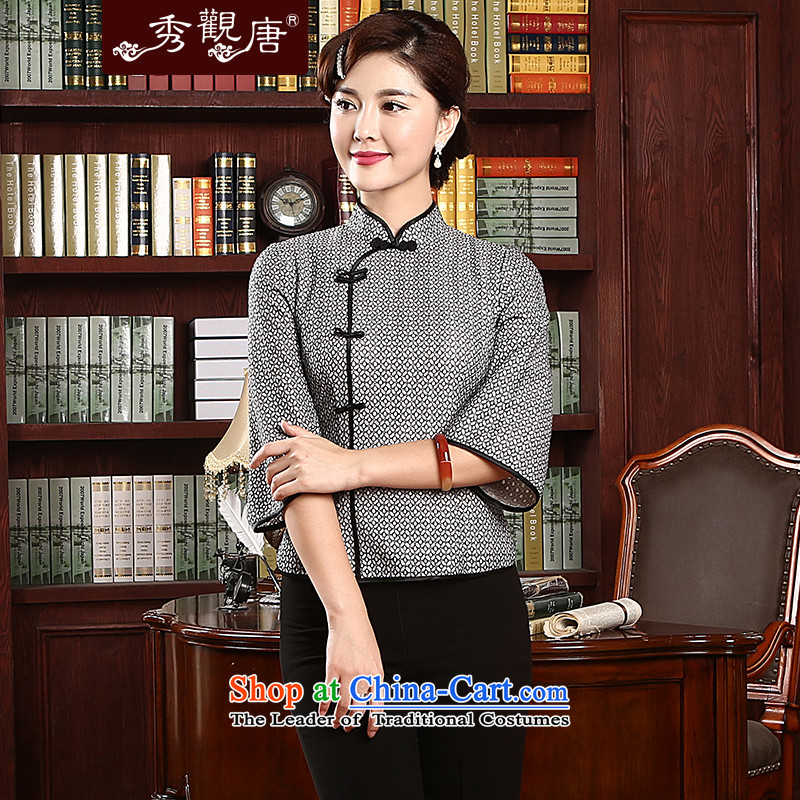 -Sau Kwun Tong- known Arabic spring 2015 the new President Tang Dynasty Chinese qipao shirt TZ4736 improved retro Gray?L
