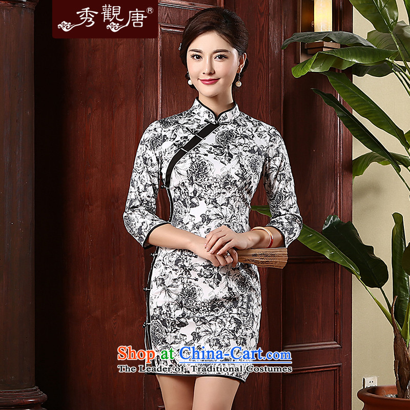 -Sau Kwun Tong- So Kam new cheongsam dress 2015 Stylish retro autumn replacing cheongsam dress QZ4730 Black and White燲L