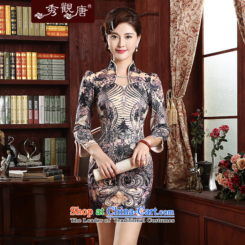 -Sau Kwun Tong- aptitudes and stylish improved qipao in spring and summer 2015 skirt daily Sau San qipao cheongsam dress QZ4731 Suit?M