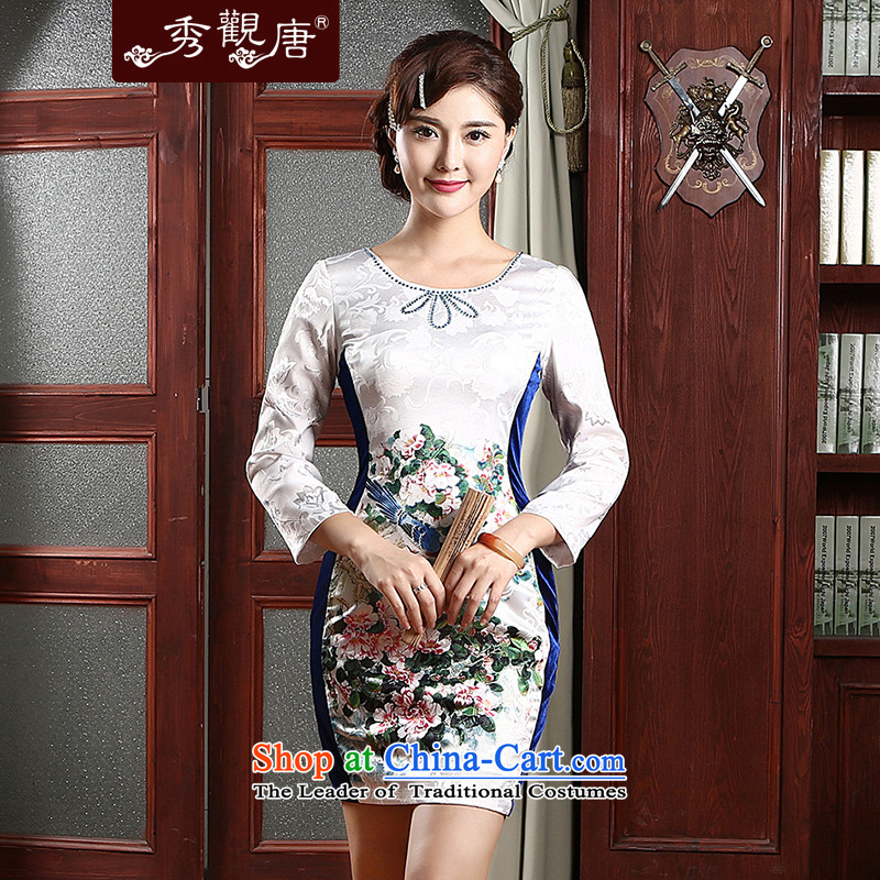 -Sau Kwun Tong- Hee-chih cotton jacquard cheongsam dress Sau San spring 2015 in New cuff improved cheongsam dress QZ4741 White聽XL