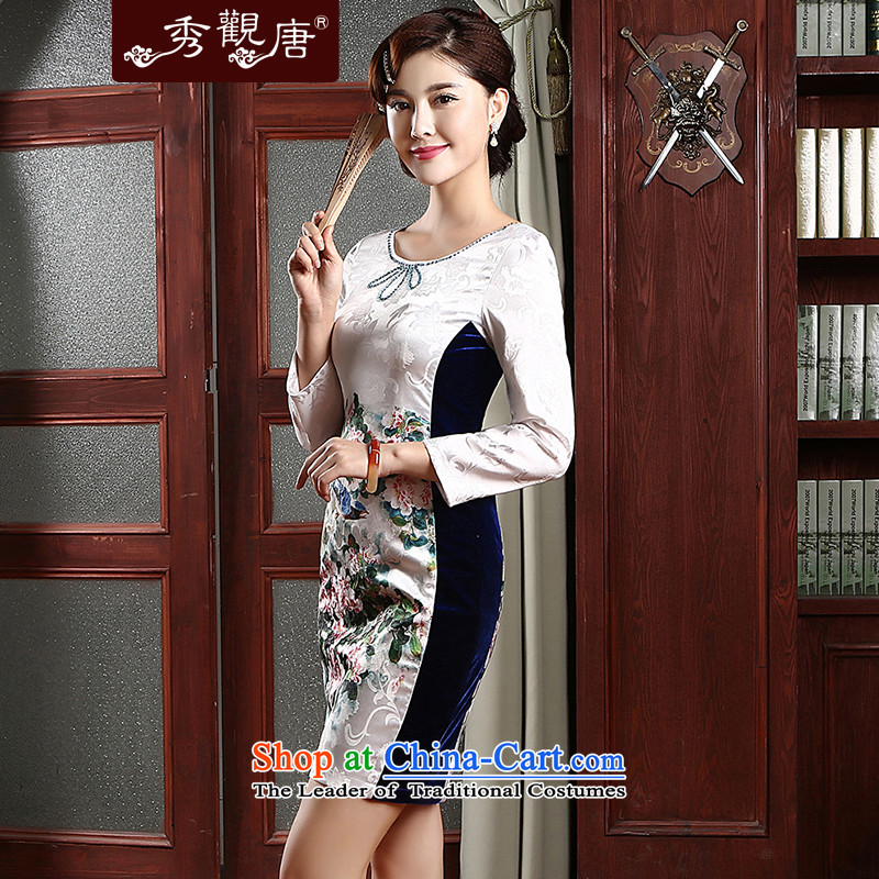 [Sau Kwun Tong] Hee-chih cotton jacquard cheongsam dress Sau San spring 2015 in New cuff improved cheongsam dress QZ4741 White聽XL, Sau Kwun Tong shopping on the Internet has been pressed.