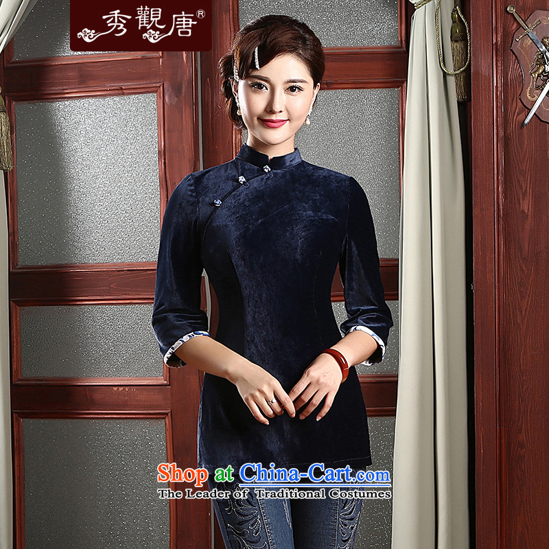 [Sau Kwun Tong] ancient fragrant 2015 new fall short-Women's clothes Chinese Ethnic Chinese shirt improved mother replacing TZ4740 Dark Blue M
